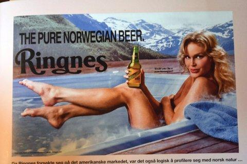 NATUR: Da Ringnes forsøkte seg på det amerikansk markedet, ble ølet lansert med naken blondine og slagordet «Would you like a pure Norwegian».  (Fra boka «Damer og øl»)