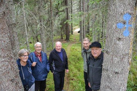 RYDDER NATUR- OG KULTURLEDEN: Turid Athammer (fra venstre), Arne Tagnen, Stein og Sven Grønstad og Finn Nygård. Brua de har bygd over Vestre Æra i bakgrunnen.