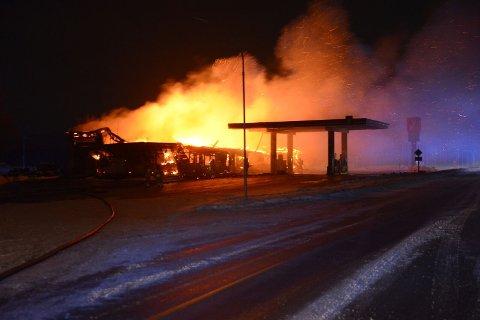 BRANN: Berg servicesenter i Garvik brant fredag morgen.