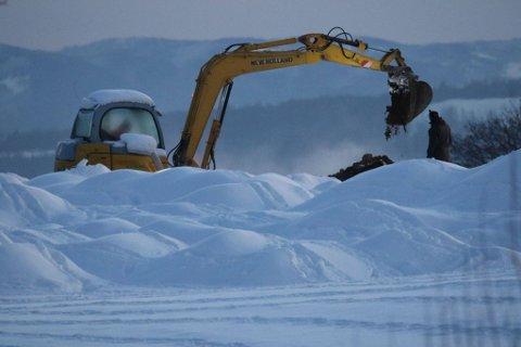 Søndag ettermiddag ble det brukt gravemaskin i flere gjødselhauger ved Jemtland gård.