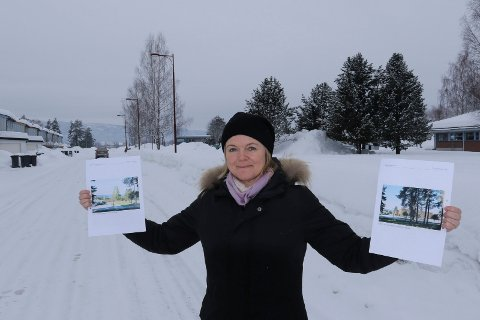 ALTERNATIVENE:  Ordfører Lise Berger Svenkerud anbefaler løsningen i venstre hånd med aktivitetshuset plassert nærmere sentrum.  Det opprinnelige utkastet med samlet løsning har hun i høyre hånd.  Helt til venstre boligene i Rekka som hun mener enten må pusses opp og bevares, eller rives.
