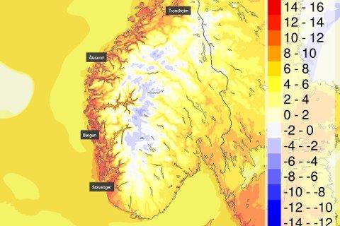 VARMT: I tillegg til sol vil det bli godt og varmt midt på dagen. Slik ser det ut for torsdag klokka 16.00.