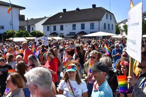 FOLKEHAV: Om lag 2.000 mennesker var tilstede på torget i Brumunddal under Pride lørdag. Foto: Thomas Strandby