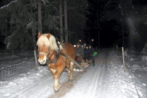 KANEFART: Håvard Jensen stilte med hest og doning og sørget for kanefart.