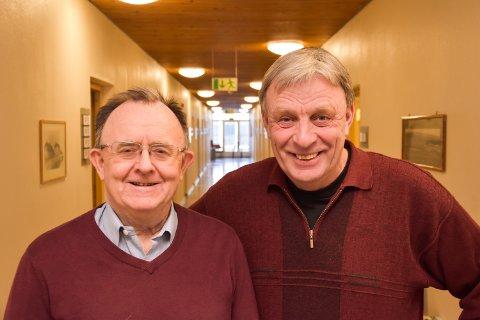 LÆRE MER: Alf Kristian Enger (tv) og Arnfinn Uthus (Sp) forteller at Elverum er med i et internasjonalt samarbeid for å lære mer om å være en bærekraftig kommune.