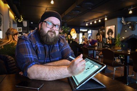 KREATØR: Øystein Sanne tegner livet sitt i tegneserien Øystein is king.