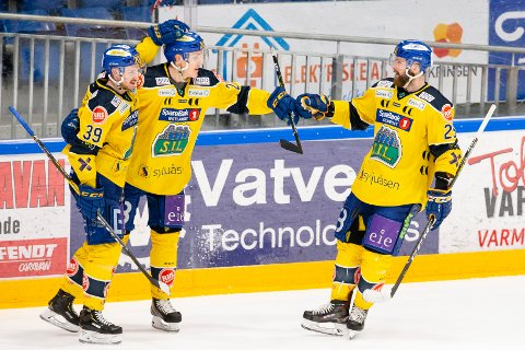 Storhamar var første lag som sikret seg semifinalebillett i NM-sluttspillet i ishockey. Foto: Audun Braastad / NTB scanpix
