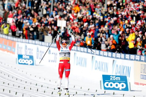 Therese Johaug under tremila i Holmenkollen for snart to uker siden.