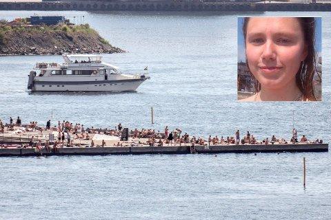 BADEPLASS: Det var her på Sørenga at Christa Barlinn Korvald fikk beskjed om å kle på seg da hun badet toppløs. Foto: Paul Kleiven / NTB scanpix / privat