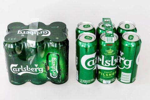BYTTET UT PLASTEN: Carlsberg byttet ut plastinnpakningen med lim, men de sammenlimte ølboksene, som  produseres i Polen, ikke på Gjelleråsen, har ikke slått særlig godt an. (Foto: Ringnes)