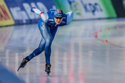 Håvard Holmefjord Lorentzen skal forsøke å kjempe om gull når skøyte-VM arrangeres på Hamar i vinter. Det blir VM-historiens første kombinerte sprint- og allroundmesterskap. Foto: Harald Wisthaler / NTB scanpix