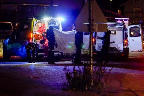 PÅGRIPES: Politiet pågriper en person i forbindelse med en knivstikking på en privatadresse i Elverum. Foto: Håkon Mosvold Larsen / NTB