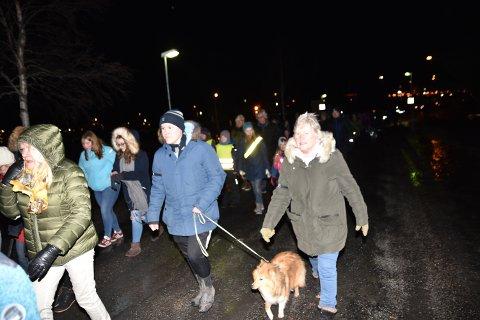 FAKKELTOG FOR SJUKEHUSET: Fredag kveld ble det arrangert fakkeltog for fortsatt sjukehus i Elverum. Foto: Randi Undseth