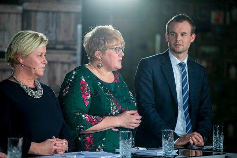 Frp-leder Siv Jensen, Venstre-leder Trine Skei Grande og KrF-leder Kjell Ingolf Ropstad under en debatt på NRK i 2019.