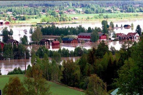 Slik så det ut i Heradsbygd under flommen i 1995.