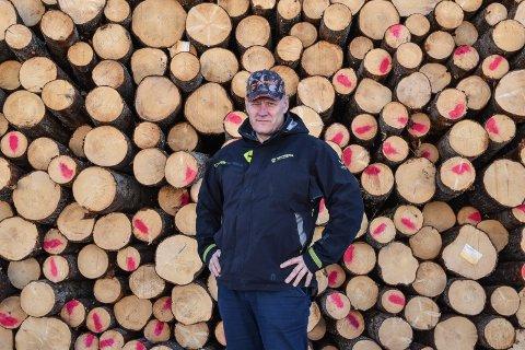 STORE SVINGNINGER: Per Kveseth i Nortømmer konstaterer at det var mye tømmer på markedet i fjor, og at prisene falt.