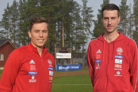 FERDIG SOM TYNSETTRENER: Sportslig leder menn senior, Svein Aasen, til venstre, sier det jobbes med å finne erstatter(e) for trener Mats Lund som nå gir seg.