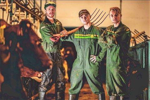 RETTE ELEMENT: - Vi vil gi bonden og bygda et løft med vår låt i Melodi Grand Prix, sier gruppa Tuveia fra Dalsbygda. Fra venstre: Bendik Johansen, Roar Bredalslien og Kristian Bredalslien.