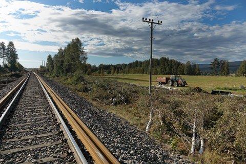 LIKE VED: Høyspentlinja går like ved Solørbanen her like nord for Braskereidfoss.