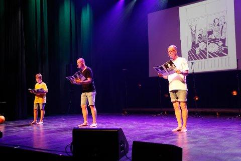 Tre genrasjoner Vik, Jørgen, Tobias og Lars, leste fra Jørgen Bombasta.
