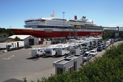 Det ble observert lange køer ved terminalen i Langesund i helga.