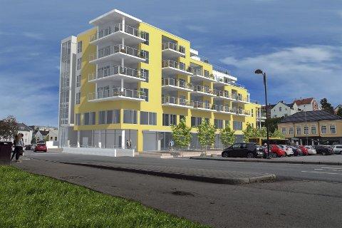 BANK OG LEILIGHETER: DNB flytter i inn i 1. og deler av 2. etasje, og oppover blir det fire etasjer med leiligheter. Fire av byens banker vil høsten neste år ha lokaler innenfor en radius av noen få hundre meter.
