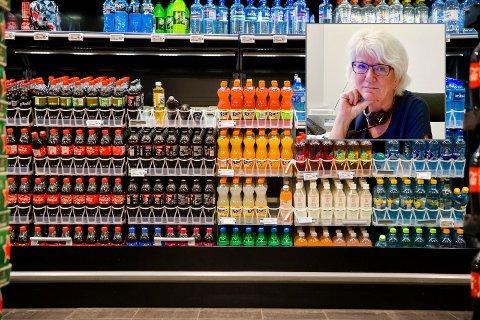 Øl og brus i butikkhyllene: Vibeke Nedrebø (innfelt) i Porsgrunn kommune ber butikkene passe på at alkoholholdig drikk ikke plasseres slik at den forveksles med brus og annet alkoholfritt .