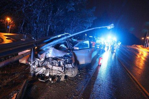 Utrolig nok ble ingen skadet i ulykken i Bamble i natt.