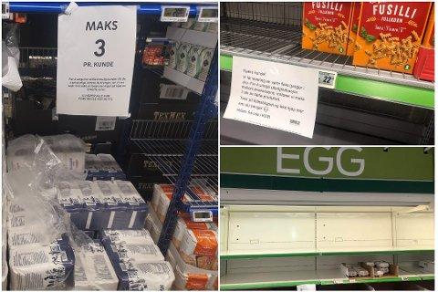 MAKS TRE: En rekke butikker ser seg nå nødt til å begrense antallet du kan handle av hvert produkt. Foto: Inger Boldvik / Knut Storvik