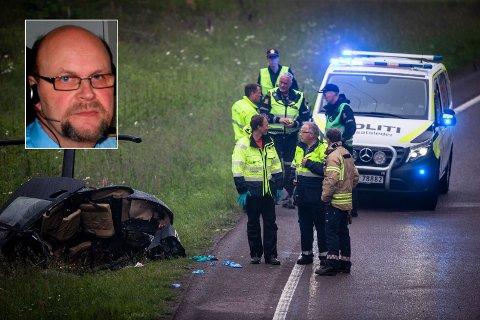 Jens Arne Bærland (innfelt) bor i Langangsvegen, sammen med kona Trude. Torsdag ble han vitne til helikopterstyrten.