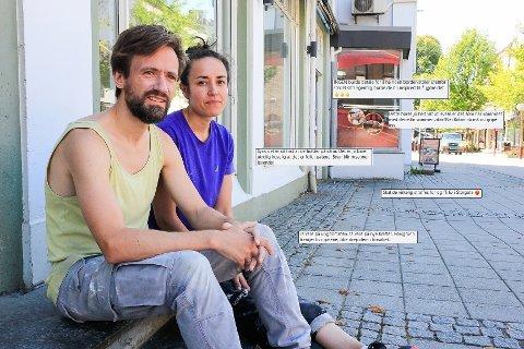 SLAG I TRYNET: Fredrik Lønne og Stefi Haldorsen fikk en uventet overraskelse da de søkte om ny serveringsbevilling. – Vi kan ikke gamble på det. 10.000 er mye penger, sier de.