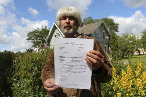 Høylytt protest: Halvor Hartvig svarte på nabovarselet om mulig riving med protestbrev. Han vil at Villa Sundby skal fredes.