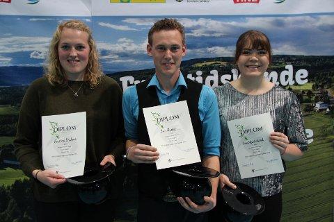 Anne Sofie Strekerud (22), Kristine Erichsen (21) og Sven Nystad (26) – alle fra Rakkestad ble norgesmestre i 5 om dagen under Norges Bygdeungdomslags høstarrangement på Stange i helga.
