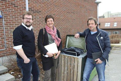 UT: Lars-Kristian Holøs Pettersen (KrF), Ellen Solbrække (Ap) og Dagfinn Søtorp (Sp) var enige om ny renovasjonsordning.