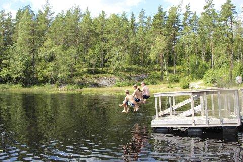 POPULÆR BADEPLASS: Holtetjern er en yndet destinasjon for mange. Nå oppfordrer Rakkestad kommune folk til å ta hensyn og kjøre pent på vei inn til badeplassen.
