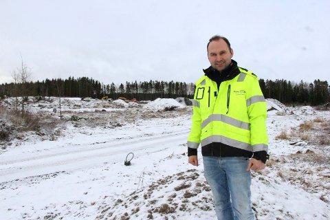 Boligutbygging: Martin Levernes i Steinar Levernes AS. Bildet er tatt i forbindelse med at Prestegårdsskogen Utvikling satte i gang fase 2 på Prestegårdskogen boligområde.
