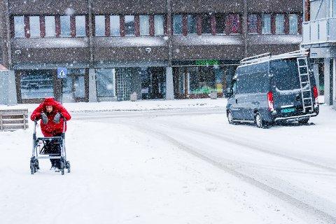 Oddlaug Dahl forteller at det var vanskelig for henne å ta seg frem i snødrevet i Rakkestad sentrum mandag formiddag.