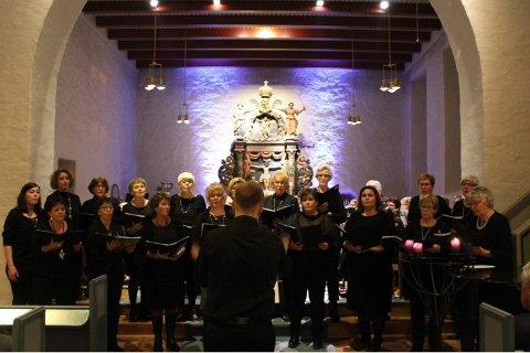 Bidrar: Damekoret Fønix er blant bidragsgiverne til den tradisjonsrike adventskonserten i Rakkestad kirke.  Arkivfoto