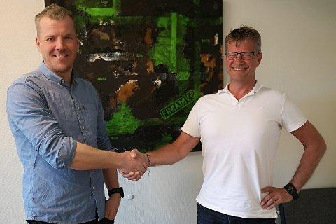 AVTALE: Jon Magne Sem (medeier) og  Trond Olav Aas ble enig om oppkjøpet forrige uke.