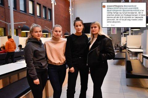 UBEHAGELIG: Kristell Tøndal (18) fra Trøgstad, Sara Berg (18) fra Mysen, Tirill Bakker (18) fra Eidsberg og Anna Klund (18) fra Mysen synes kommentaren var svært ubehagelig.