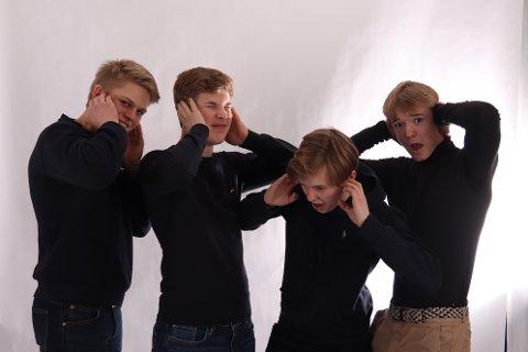 ILDSJELER: Denne gjengen ved Nesodden videregående skal slå et slag for  Hørselshemmedes landsforbund.  Fra venstre: Elias Erlandsen, Oliver Hagen, Henrik Ormseth, Aleksander Hauge-Nilson. FOTO: privat.
