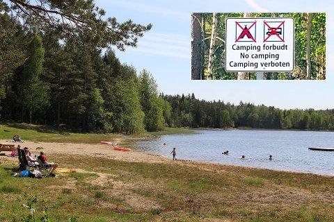 Flere reagerte da det kom opp skilt om campingforbud ved Kolbjørnsviksjøen i fjor.