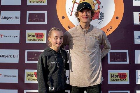 Pallplass: Malin Søtorp Solberg (15) kom på 2. plass og Adrian Westlie (20) kom på 3. plass i sine respektive aldersklasser da de løp Hytteplanmila lørdag.