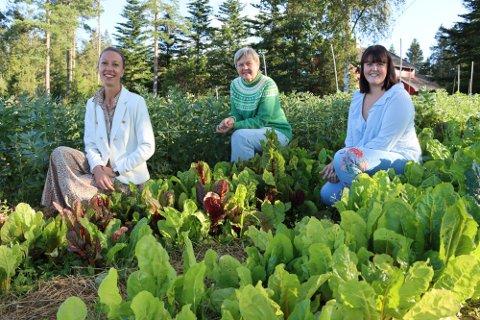 Potet entusiaster: Ida Marie Ruud Stemmedalen og Anne Kristin Syverstad hedrer poteten på dens egen merkedag. Her sammen med Ida Marie Strekerud (t.h.).