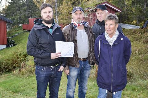 REAGERER: Syv beboere i Faringsveien har klaget på plasseringen av ishallen. Fire av dem er Morten Jacobsen, Odin Langmo, Jon Langnes og Sissel Jacobsen.