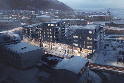 Nybygg: Bygginga av et bygg med 81 leiligheter fordelt på tre blokker på syv og åtte etasjer, tar etter planen til rundt påsketider. Skisse: Inviso/arkitekt Ole-Martin Hartløfsen, Norconsult