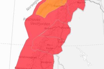 STOR SNØSKERDFARE: Onsdag og torsdag øker snøskredfaren til det høyeste punktet på snøskredfareskalaen i store deler av Nordland.
