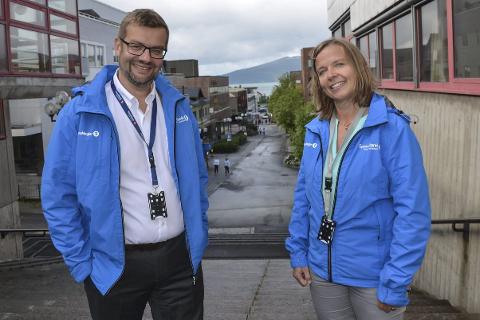 Fine utsikter:  Hans Petter Skjæran og Hanne Nordgaard Sparebank1 Nord-Norge mener vi står oss markant bedre i Nord-Norge og på Helgeland enn i resten av landet. Foto: Marit Ulriksen