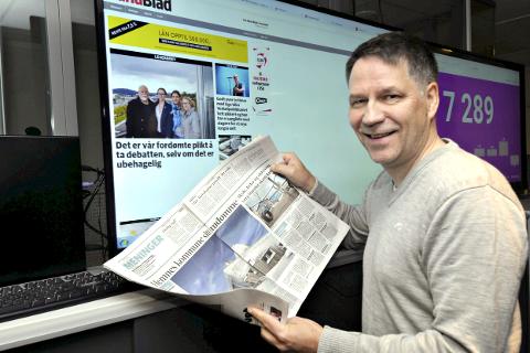 SKAL SNU UTVIKLINGEN: Sjefredaktør Tore Bratt i Rana Blad har som mål å snu utviklingen på lesertallene. Allerede har Rana Blad en økning i antall nye abonnenter målt mot forrige år.