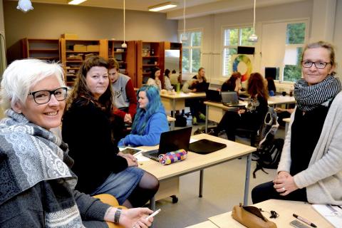Lærer gode egenskaper: – Formgivningsfag er en allmenndannende retning, og er like viktig som kjemi og historie, sier Ingrid Kjærstad Solbakken, Bente Høyen og Mari Nordsteien fra Polarsirkelen videregående skole.Foto: Beate Nygård